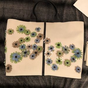 NWT Reed Krakoff Raffia Flower Canvas Track Tote